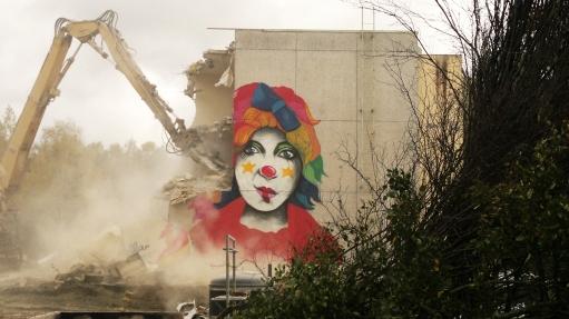 #StreetArt #Finland #SallaIkonen #female #Vantaa #clown #Mural #graffiti #art Kuva: Hilkka Blom