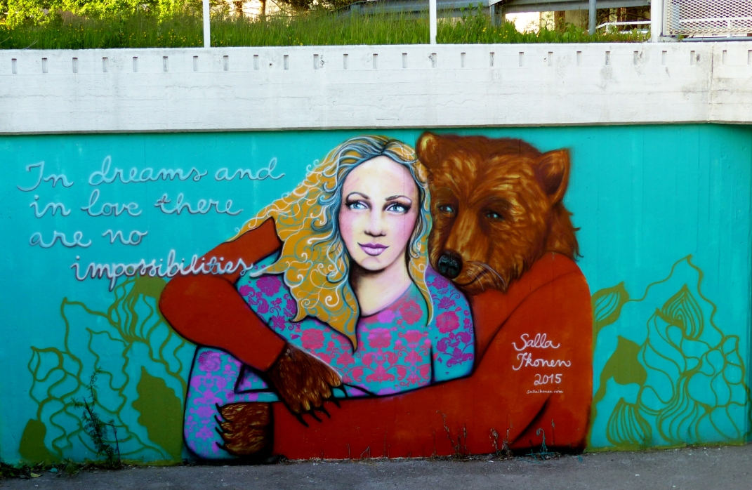 #SallaIkonen #Streetart #Finland #Myyrmäki #Vantaa #woman #bear #dreaming #love #graffiti #art #female #artist